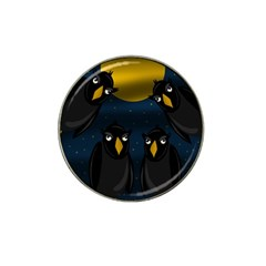 Halloween - black crow flock Hat Clip Ball Marker (4 pack)