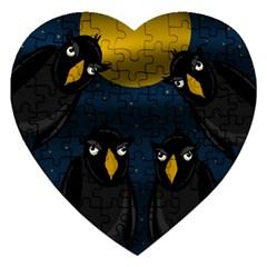 Halloween - black crow flock Jigsaw Puzzle (Heart)