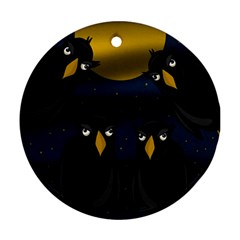 Halloween - black crow flock Round Ornament (Two Sides)