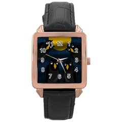 Halloween - black crow flock Rose Gold Leather Watch