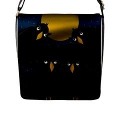 Halloween - black crow flock Flap Messenger Bag (L)