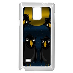 Halloween - black crow flock Samsung Galaxy Note 4 Case (White)