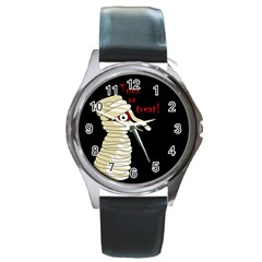 Halloween mummy   Round Metal Watch