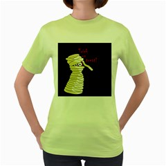 Halloween mummy   Women s Green T-Shirt