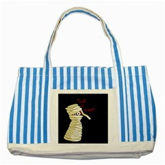 Halloween mummy   Striped Blue Tote Bag
