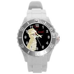 Halloween mummy   Round Plastic Sport Watch (L)