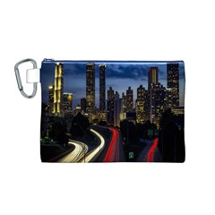 Building And Red And Yellow Light Road Time Lapse Canvas Cosmetic Bag (M)