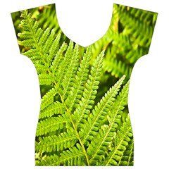 Fern Nature Green Plant Women s V-Neck Cap Sleeve Top