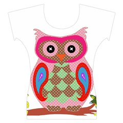 Owl Colorful Patchwork Art Women s Cap Sleeve Top