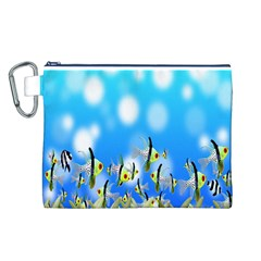 Pisces Underwater World Fairy Tale Canvas Cosmetic Bag (L)