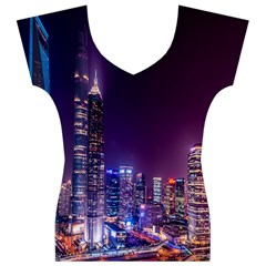 Raised Building Frame Women s V-Neck Cap Sleeve Top