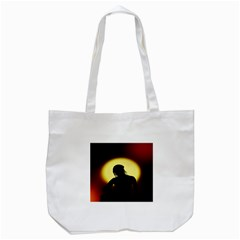 Silhouette Woman Meditation Tote Bag (White)