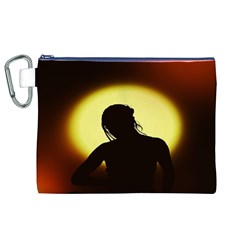 Silhouette Woman Meditation Canvas Cosmetic Bag (XL)
