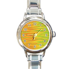 Green and oragne Round Italian Charm Watch