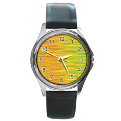 Green and oragne Round Metal Watch