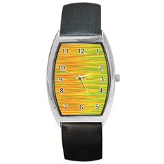 Green and oragne Barrel Style Metal Watch