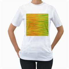 Green and oragne Women s T-Shirt (White)