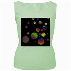 Colorful galaxy Women s Green Tank Top