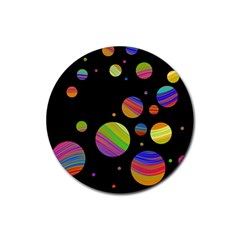 Colorful galaxy Rubber Coaster (Round)