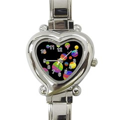Colorful galaxy Heart Italian Charm Watch