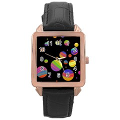 Colorful galaxy Rose Gold Leather Watch