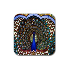 The Peacock Pattern Rubber Coaster (Square)