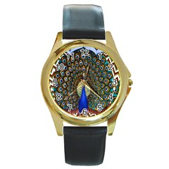 The Peacock Pattern Round Gold Metal Watch