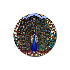 The Peacock Pattern Rubber Coaster (Round)