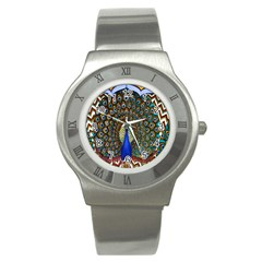 The Peacock Pattern Stainless Steel Watch