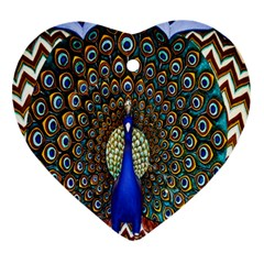 The Peacock Pattern Heart Ornament (2 Sides)