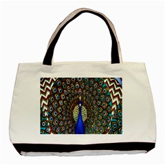 The Peacock Pattern Basic Tote Bag (Two Sides)