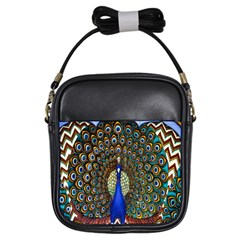 The Peacock Pattern Girls Sling Bags
