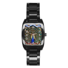The Peacock Pattern Stainless Steel Barrel Watch