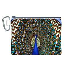 The Peacock Pattern Canvas Cosmetic Bag (L)