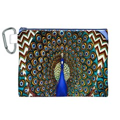 The Peacock Pattern Canvas Cosmetic Bag (XL)