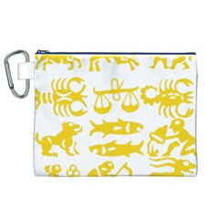 Zodiac Sign Signs Silhouette Black Canvas Cosmetic Bag (XL)
