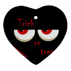 Halloween  Trick or treat  - monsters red eyes Ornament (Heart)