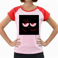 Halloween  Trick or treat  - monsters red eyes Women s Cap Sleeve T-Shirt