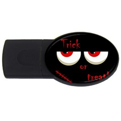 Halloween  Trick or treat  - monsters red eyes USB Flash Drive Oval (1 GB)