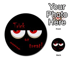 Halloween  Trick or treat  - monsters red eyes Multi-purpose Cards (Round)