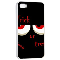 Halloween  Trick or treat  - monsters red eyes Apple iPhone 4/4s Seamless Case (White)