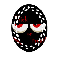 Halloween  Trick or treat  - monsters red eyes Oval Filigree Ornament (2-Side)