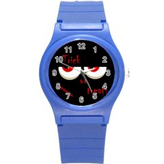 Halloween  Trick or treat  - monsters red eyes Round Plastic Sport Watch (S)