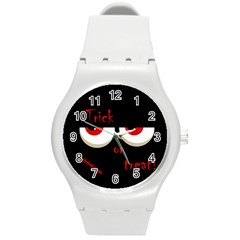 Halloween  Trick or treat  - monsters red eyes Round Plastic Sport Watch (M)