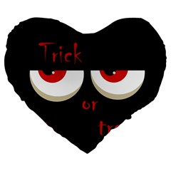 Halloween  Trick or treat  - monsters red eyes Large 19  Premium Heart Shape Cushions
