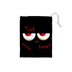 Halloween  Trick or treat  - monsters red eyes Drawstring Pouches (Small)