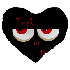 Halloween  Trick or treat  - monsters red eyes Large 19  Premium Flano Heart Shape Cushions