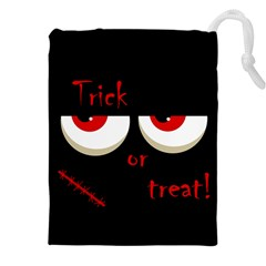 Halloween  Trick or treat  - monsters red eyes Drawstring Pouches (XXL)