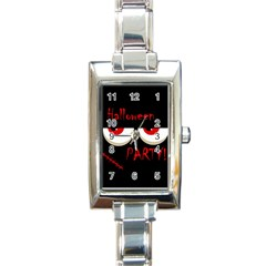 Halloween party - red eyes monster Rectangle Italian Charm Watch