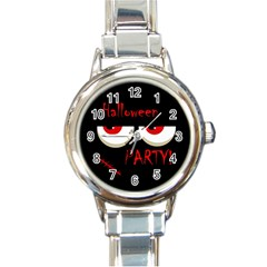 Halloween party - red eyes monster Round Italian Charm Watch